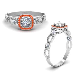 Orange Topaz Mom Ring With Halo