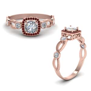 Square Halo Ruby Ring