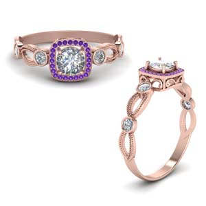 Rose Gold  Purple Topaz Ring