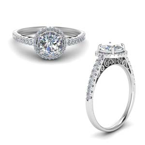pave halo diamond vintage engagement ring in FD8592RORANGLE1 NL WG