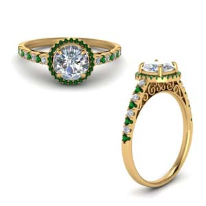 Emerald Vintage Halo Diamond Ring