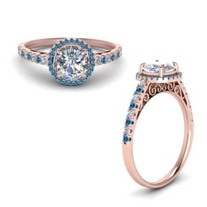 Filigree Engagement Ring With Topaz
