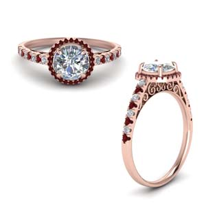 Pave Halo Engagement Ring With Ruby