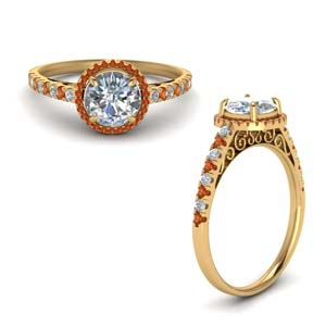 Halo Vintage Ring With Orange Sapphire