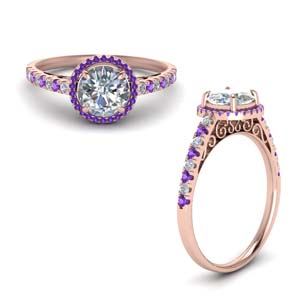 Purple Topaz Halo Diamond Ring