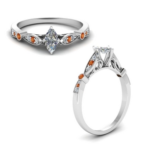 Marquise Shaped Orange Sapphire Vintage Rings