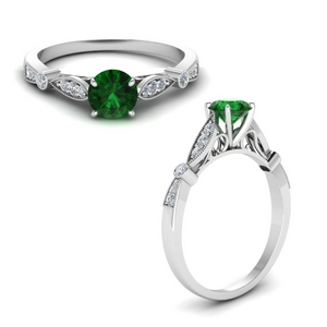 vintage cathedral emerald engagement ring in FD8593RORGEMANGLE1 NL WG