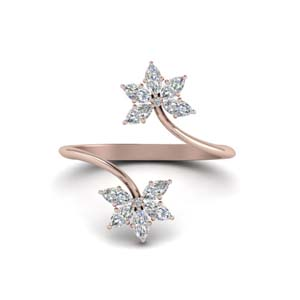 Rose Gold Petal Diamond Open Ring