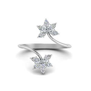 Platinum Floral Design Open Ring