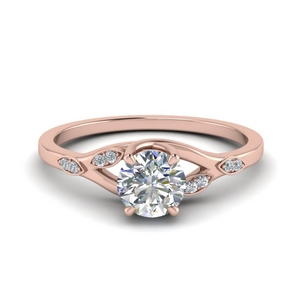 Round Diamond Leaf Ring