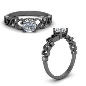 Black Gold Filigree Diamond Ring