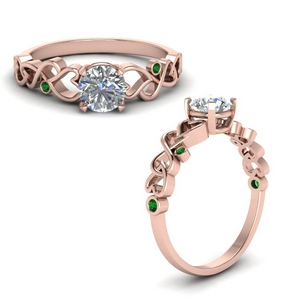intertwined filigree round cut engagement ring with emerald in FD8604RORGEMGRANGLE1 NL RG