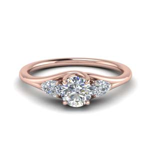 14K Rose Gold Round 3 Stone Ring
