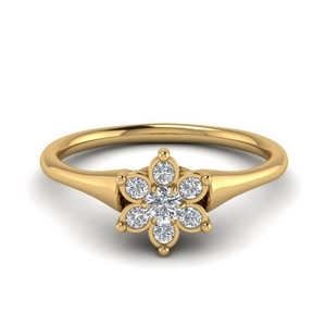 Simple Flower Engagement Ring