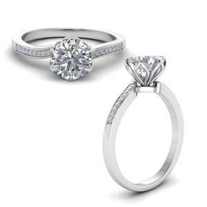 6 Prong Floral Engagement Ring