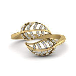 Bypass Leaf Diamond Ring