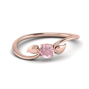 Morganite Leaf Solitaire Ring