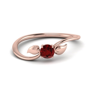 Leaf Solitaire Ruby Ring