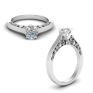 Moissanite Filigree Engagement Ring