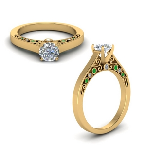 Round Cut Emerald Vintage Engagement Rings