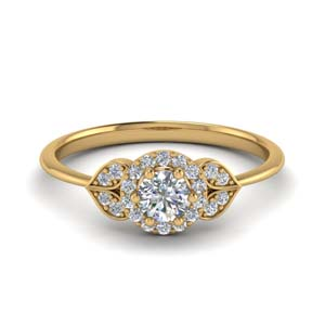 Petal Halo Engagement Ring
