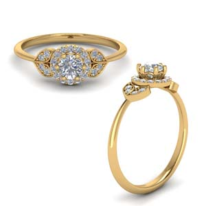 Petal Diamond Halo Ring