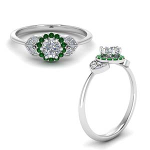 Halo Leaves Emerald Ring