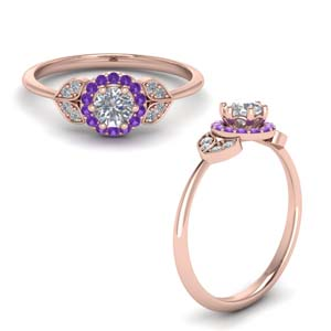 Purple Topaz Halo Leaves Ring