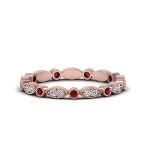 0.35 Carat Diamond Band With Ruby