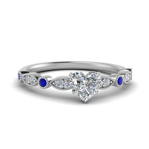 marquise and dot milgrain heart engagement ring with sapphire in FD8641HTRGSABL NL WG