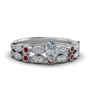 Delicate Ruby Bridal Ring Set