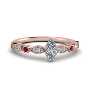 Milgrain Diamond Wedding Ring With Ruby