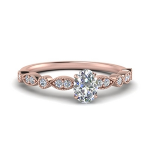marquise and dot milgrain oval engagement ring in FD8641OVR NL RG