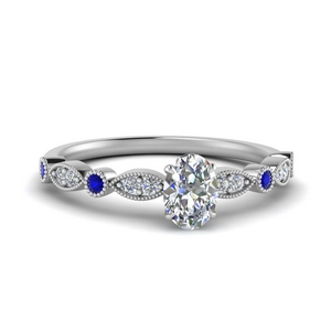marquise and dot milgrain oval engagement ring with sapphire in FD8641OVRGSABL NL WG