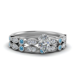 Platinum Pear Diamond Wedding Set