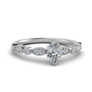 marquise and dot milgrain pear engagement ring in FD8641PER NL WG