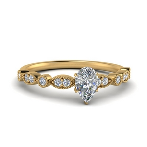 Marquise And Dot Milgrain Ring