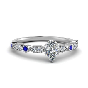 Pear Shaped Milgrain Engagement Ring