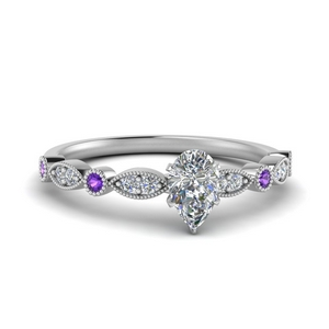Gemstone Milgrain Engagement Ring