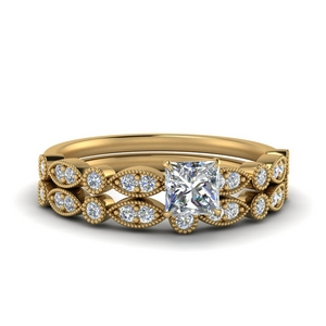 Milgrain Bridal Ring Set