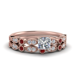 Milgrain Ruby Bridal Ring Set