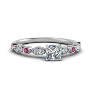 marquise and dot milgrain princess cut engagement ring with pink sapphire in FD8641PRRGSADRPI NL WG