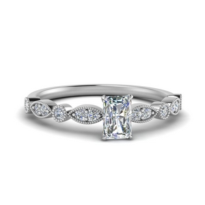 marquise and dot milgrain radiant engagement ring in FD8641RAR NL WG