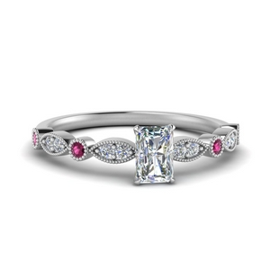 marquise and dot milgrain radiant engagement ring with pink sapphire in FD8641RARGSADRPI NL WG