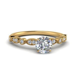Round Diamond Rings With Milgrain