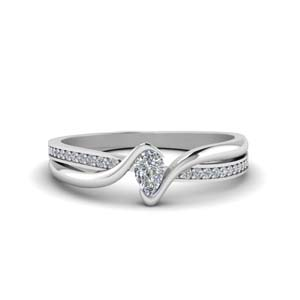 Tension Set Pear Diamond Ring