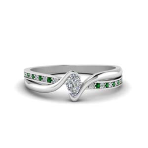 Tension Set Ring With Emerald