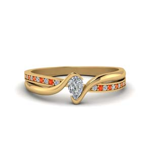 18K Yellow Gold Orange Topaz Ring