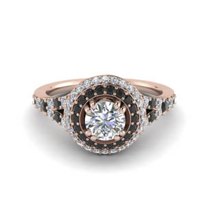 Pave Black Diamond Halo Ring