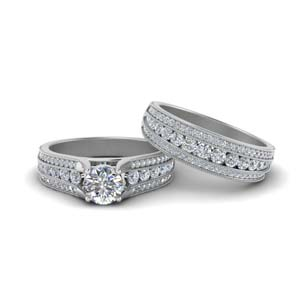 3 Row Diamond Milgrain Bridal Set
